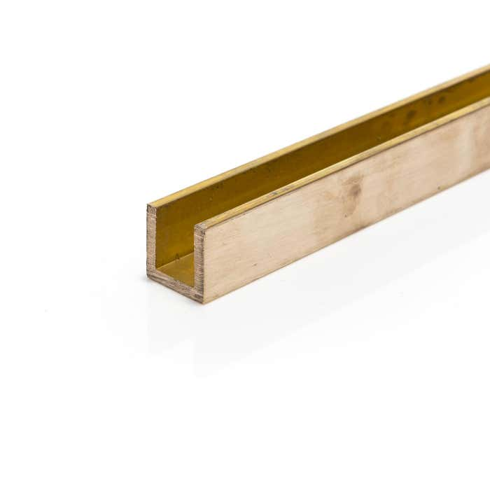 Brushed Polished Brass Channel 19.05mm x 19.05mm x 3.2mm (3/4