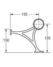 38mm Brass Hand & Foot Rail Brackets Combination Mount