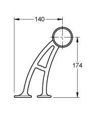 51mm Brass Hand & Foot Rail Brackets Angle Stem