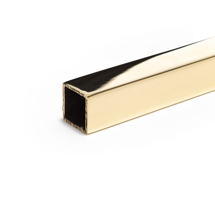 Bright Polished Brass Box Section 15.9mmX15.9mmX1.6mm (5/8