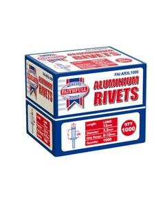 Aluminium Rivets 3.2mm x 13mm Long Bulk Pack of 1000