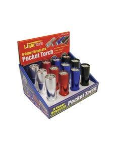 Super Bright 9 LED Pocket Torch (Display of 12)