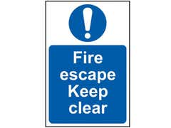 Fire Escape Keep Clear - PVC 200 x 300mm
