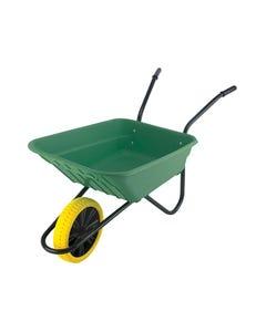 90L Green Polypropylene Wheelbarrow - Puncture Proof