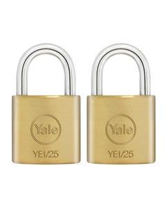 YE1 Brass Padlock 25mm (2 Pack)
