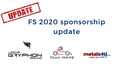 metals4U sponsorship of IMechE FS20 teams update