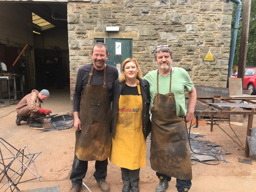 metals4U Student Sculptor competition winner Jessica Smith with Brian Fell at his Midsummer Metals workshop