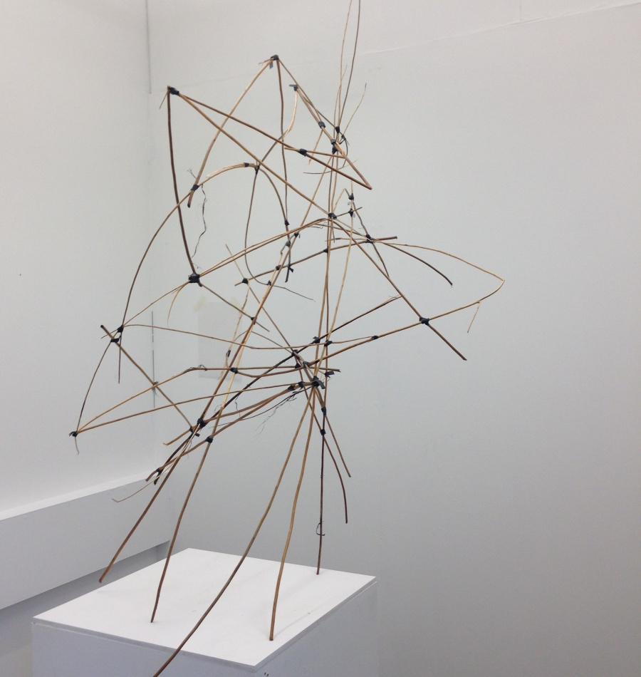 Sculpture made from sticks and tape by student Jessica Smith